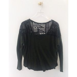 we the free / people green crochet knit top